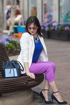 J.Crew amethyst chino pants, cobalt blue tshirt from Mango, white H&M blazer, Ava & Aiden navy suede ankle strap pumps, Michael Kors blue bucket bag, Ilymix necklace