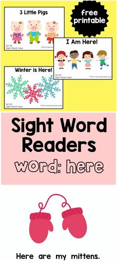 """Sight Word Reader for the Word """"Here"""""""