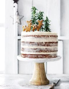 Hazelnut and brandy forest cake with cream cheese icing Want to bring a fun, festive treat to Christmas this year? Try Donna Hay's hazelnut and brandy forest cake with cream cheese icing recipe. Xmas Food, Christmas Sweets, Christmas Cooking, Noel Christmas, Christmas Cakes, Magical Christmas, Holiday Cakes, Christmas Birthday Cake, Simple Christmas