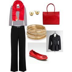 This would a great for a cold Georgia gameday. Red Shoes Outfit, Black Pants Outfit, Business Professional Attire, Professional Outfits, Fashion 101, Girl Fashion, Instyle Clothing, Casual Couture, Red Scarves