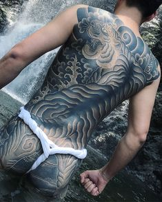 Mens Body Tattoos, Boy Tattoos, Head Tattoos, Body Art Tattoos, Japanese Back Tattoo, Japanese Tattoos For Men, Japanese Tiger Art, Back Tattoos For Guys, Fundoshi