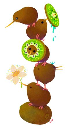 Kiwi by DanBee Kim, via Behance..  ~ Ahhh I love them!!!