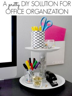 Use a little Krazy Glue and Good Will finds to craft up some vertical storage for your desk!