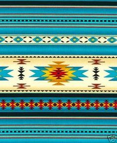 NATIVE AMERICAN INDIAN BLANKET FABRIC 30 available BTHY TURQUOISE