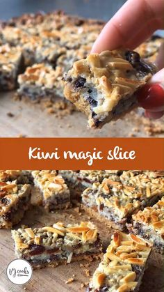 Easy Magic Slice made with a biscuit base and layered with chocolate, coconut, dried fruit, nuts and condensed milk. Tray Bake Recipes, Baking Recipes, Cookie Recipes, Dessert Recipes, Chocolate Slice, Chocolate Chips, Decadent Chocolate, Chocolate Cream, Condensed Milk Desserts