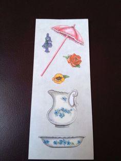 CREATIVE MEMORIES STICKERS: HERITAGE PARASOL FLOWERS WATER PITCHER BASIN #CreativeMemories