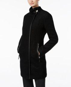 Calvin Klein Faux-Leather-Trim Walker Coat | macys.com