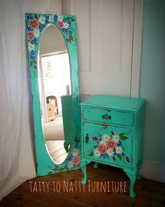 BEDSIDE TABLE & FULL LENGTH MIRROR hand painted cabinet TURQUOISE  FLORAL girls folk painting daisies roses flowers teal pink white yellow shabby chic Upcycled Wardrobe door.
