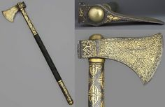 Indian (North) tabar-zin (saddle axe), 19th century, russet steel, wood, velvet, brass and gold, damascened (Koftgari), Wallace Collection. Muslim Culture, Beil, Battle Axe, Medieval Weapons, Mughal Empire, Cold Steel, Ottoman Empire, Military Art, Islamic Art