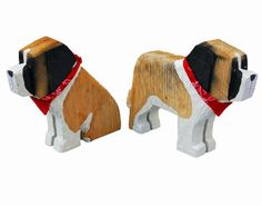 These handsome chainsaw dogs are original folk art carvings made from Idaho ponderosa pine. The wood is from trees that have succumbed to natural processes of age, disease, lightning or wind. No live