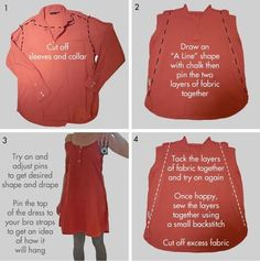 DIY shirt dress.... I like the idea, but would alter more