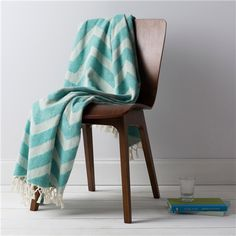 Surya Thacker Aqua & Ivory Chevron Throw Blanket