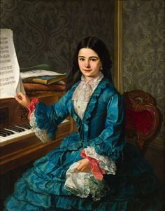 ♪ The Musical Arts ♪ music musician paintings - Antonio Gómez Cros   Girl at the piano, 1852
