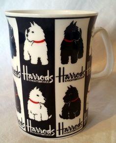HARRODS Scottish Terrier Mug Knightsbridge Fine Bone China Scotty Westie Cup