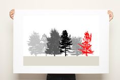 Large Poster Print Black White and Red Nature 20x30 by DUEALBERI, $45.00