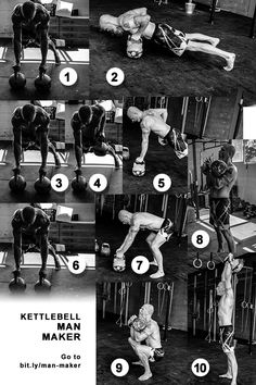 How to Do the Kettlebell Man Maker Correctly Best Kettlebell Exercises, Full Body Kettlebell Workout, Kettlebell Circuit, Kettlebell Training, Fitness Workouts, Gym Workout Tips, Fit Board Workouts, Fat Workout, Calisthenics Workout