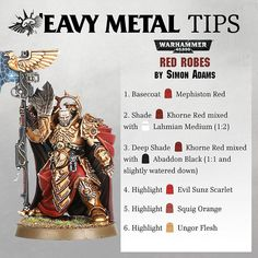 asked us how the painters from 'Eavy Metal went about painting the red cloth seen on the robes of many miniautres, notably… Painting Lessons, Painting Tips, Figure Painting, Painting Techniques, Modeling Techniques, Painting Tutorials, Warhammer Paint, Warhammer Models, Warhammer 40000