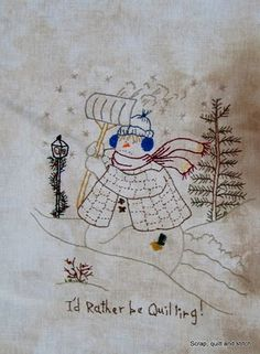 No. 2 Scrap,quilt and stitch: Snow ladies
