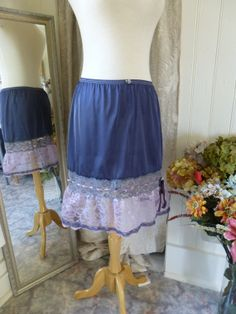 Glam Garb Ruffle Skirt Charcoal Blue Size S/M Handmade USA Romantic Elegant Victorian Steampunk Vintage Hand Dyed Upcycled Retro Embellished OOAK $50.00 www.glamgarb.com