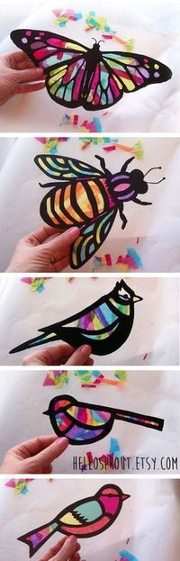 Kids Craft Butterfly and Dragonfly Stained Glass Suncatcher Kit with Birds, Bees, Using Tissue paper, Arts and Crafts Kids Activity, project is part of Tissue Paper crafts - www hellosprout etsy com Summer Crafts, Diy Crafts For Kids, Projects For Kids, Fun Crafts, Craft Projects, Arts And Crafts, Kids Diy, Craft Ideas, Nature Crafts