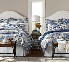 A look at the popularity of toile fabrics in home decor. Where to purchase toile fabrics and craft paper. Blue Rooms, White Rooms, White Bedroom, Slipcovered Headboard, Fabric Headboards, Toile Bedding, Bedding Sets, Guest Bedrooms, Guest Room
