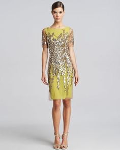 If only it wasn't lime! Sequined Short-Sleeve Cocktail Dress, Lime by Blumarine at Neiman Marcus. Love Fashion, Fashion Beauty, Fashion Outfits, Womens Fashion, Pretty Outfits, Beautiful Outfits, Pretty Dresses, Red Cocktail Dress, Sequin Shorts
