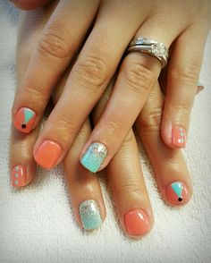 Coral & Turquoise gel nail art by:Christina