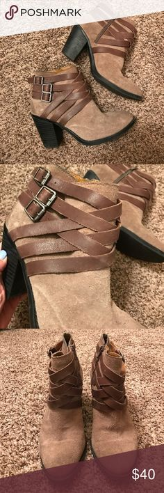 "Lucky Brand Tan suede booties Really sad to see these go, some of the most comfortable booties I've ever owned. Dark tan, suede, and has really cool leather detailing at the ankle. No real ""wear marks"" or damages, but I did wear a lot. (Just being honest) Only selling because I have a shoe problem and need more room in my closet Lucky Brand Shoes Ankle Boots & Booties"