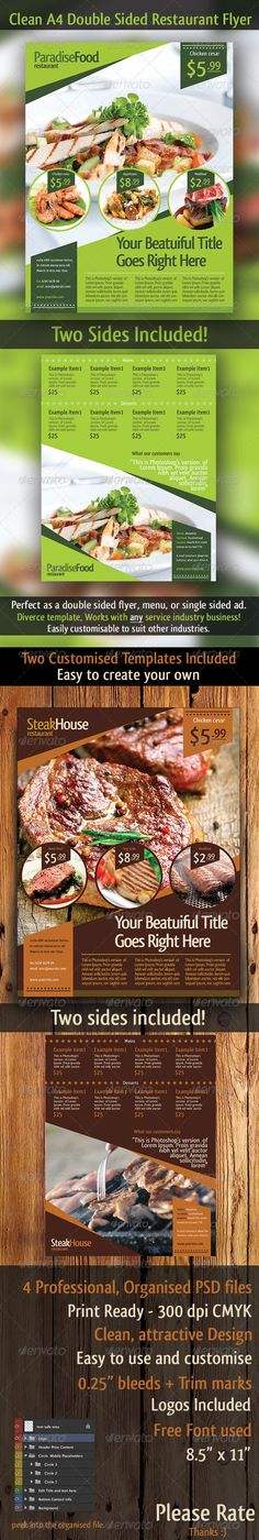 A4 Restaurant Double Sided Flyer Template  #foods #fruit #green • Available here → http://graphicriver.net/item/a4-restaurant-double-sided-flyer-template/3083933?s_rank=196&ref=pxcr