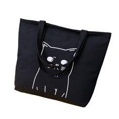 Cartoon Cats Printed Shopping Cat Tote Bag Canvas Woman Bags 2017 Bag Handbag Fashion Handbags Portable Student Bookbag Hand Bag