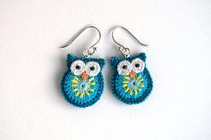 Owl earrings turquoise dark green and yellow crochet by MikiJensen, $25.00