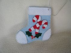 Light Blue Felt Candy Cane Stocking by KraftyGrannysHome on Etsy