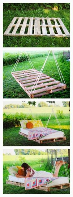 DIY PALLET SWING BED I will have this in my yard someday We are want to say than.Thanks for this post.DIY PALLET SWING BED I will have this in my yard someday We are want to say thanks if you like to share this post to anot# bed Pallet Swing Beds, Bench Swing, Swing Seat, Bench Seat, Palette Diy, Ideias Diy, Pallet Furniture, Outdoor Furniture, Home Decor Ideas