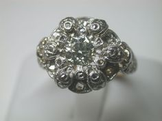 "We Will Include A Special Ring Box For This Very Special Ring. We Will Not Mark Jewelry As ""GIFTS"" Or Undervalue The Price You Paid. Filigree Engagement Ring, Antique Engagement Rings, Designer Engagement Rings, Art Deco Jewelry, Bling Jewelry, Jewelry Design, Flower Jewelry, Jewelry Ideas, Jewelery"