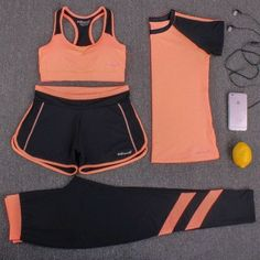 Orange - Matching 4 Piece Yoga Set #yogaset