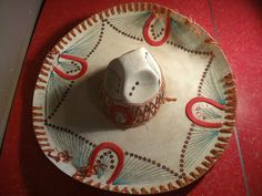 Vintage Sombrero Hat Lucky Horseshoe Horse Mexican Rodeo Western Decor Trashed