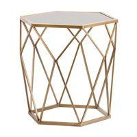 This geometric Harper Blvd accent table reveals a gold design to create captivating shadows, while the antique mirrored hexagonal tabletop hosts an elegant lamp or slim vase. In your living room, dini Gold End Table, Gold Accent Table, Mirrored End Table, Glass End Tables, Mirrored Furniture, Accent Tables, Gold Furniture, Glass Table, Birchwood Furniture