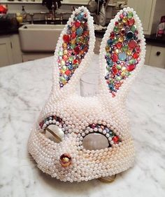 Bedazzled Bunny Mask #rhinestone #pink #pearl #bunny #mask #party #luxe #fashion #accessories #artdeco #gold #decor