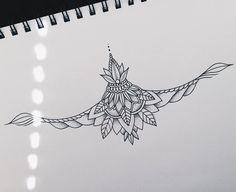 Tatto Ideas 2017 Kelsey Parker Mui on Instagram: Sternum piece I made for my girl @dready.betty #tattoo #design #dotwork #linework #sternum #art #artist #artofinstagram