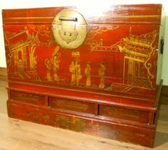 Antique Chinese Trunk (3037), Hand Painted Red Lacquer , Circa 1800-1849