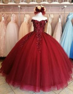 Elegant Tulle Off Shoulder Appliques Ball Gown | sweetdressy Red Quinceanera Dresses, Dama Dresses, Elegant Prom Dresses, Quince Dresses, Pageant Dresses, Formal Evening Dresses, Beautiful Dresses, Quinceanera Ideas, Red And White Dress