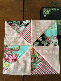 Double Pinwheel Block Easy Scrappy Style - Tutorial - susies-scraps.com Half Square Triangle Quilts Pattern, Pinwheel Quilt Pattern, Quilt Square Patterns, Barn Quilt Patterns, Patchwork Quilt Patterns, Beginner Quilt Patterns, Pinwheel Tutorial, Quilting Patterns, Quilting Ideas