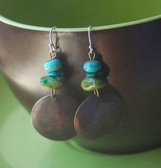 Rustic Southwest Turquoise Copper Earrings by LaughingDogStudio