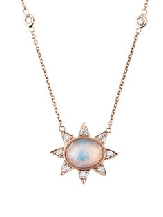 Jacquie Aiche - Oval Opal Sun Necklace    Handcrafted in 14-karat rose gold.  Detailed in diamonds and opal.  Necklace measures 16-in. long with 2-in. adjustable chaining.  Finished with a lobster clasp.
