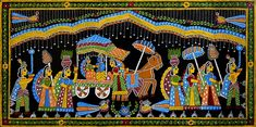 Radha Krishna on Chariot - Wall Hanging (Tikuli Painting on Hardboard)
