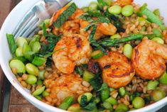 Spicy Shrimp with Edamame, Asparagus and Wheat Berries - sub the siracha with cayenne - too spicy