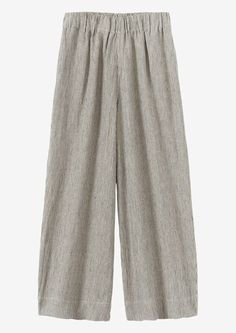Ticking Stripe Linen Wide Leg Trousers