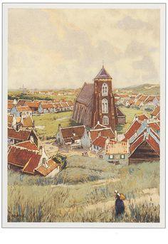 zicht vanaf de dijk op kerk in Zoutelande - (Henri Cassiers)