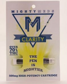 Clarity/Sativa-80.01% THC Cerebral Effect Energized, Creative Focused Light, clean flavor 500MG Mighty Meds offers High Potency 500mg pre-filled cartridges that are compatible with all 510 threaded vaporizer pens, and are available at select locations throughout Southern California. They are CO2 extracted, with no glycol or any other additives, and are crafted in small batches from organic indica blends to ensure ultra high potency and maximum flavor.