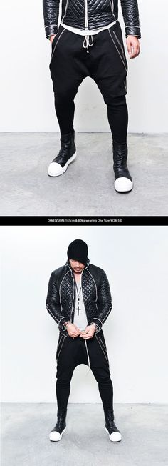 Bottoms :: Double Open Zip Designer Drop Baggy-Sweatpants 152 - GUYLOOK Men's Trendy Fashion Clothing Online
